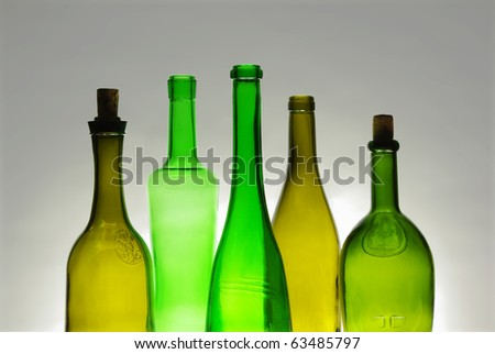 Wine bottles close-up