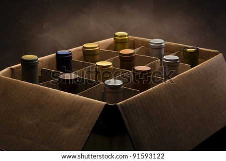 Wine bottles in a cardboard box - stock photo
