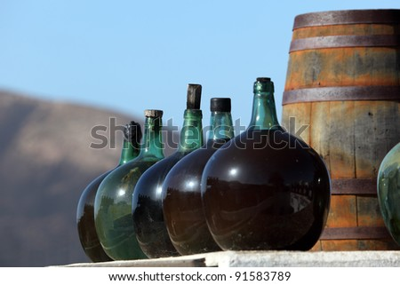 Wine bottles in a winery on Canary Island Lanzarote, Spain