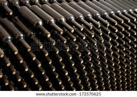 wine bottles in cellar - stock photo