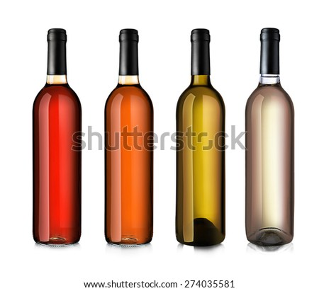 Wine bottles in row isolated on white - stock photo