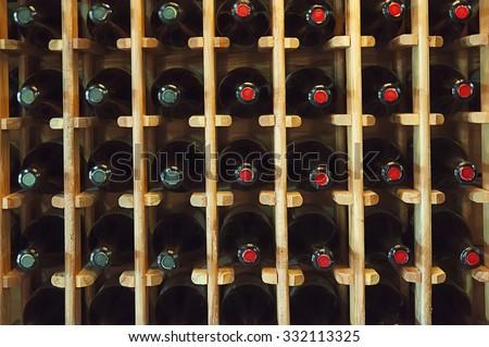Wine bottles in the shop in Georgia - stock photo