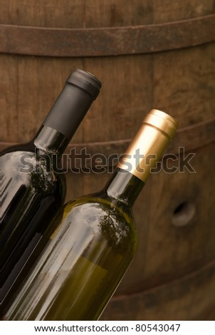Wine bottles in the winery - stock photo
