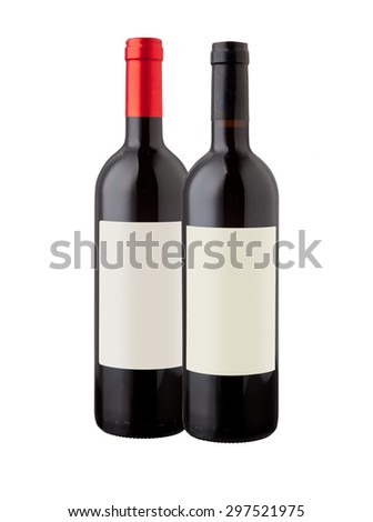 Wine bottles isolated with blank label for your text or logo. - stock photo