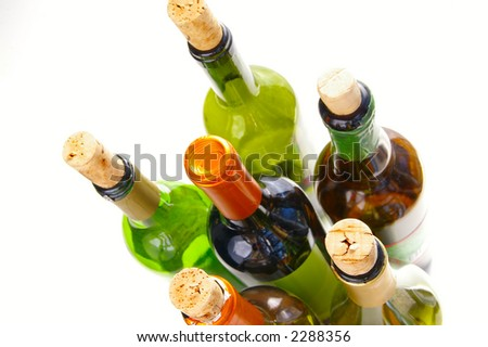 wine bottles on white from above - stock photo
