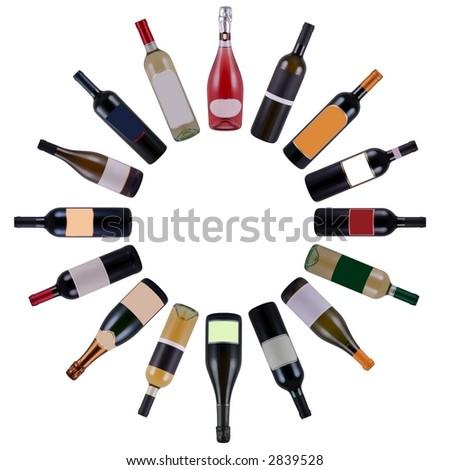 Wine bottles vortex - stock photo