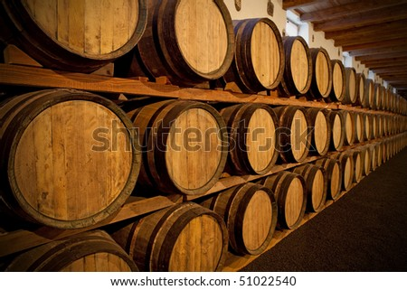 Wine cellar at a Bodega on Lanzarote - stock photo
