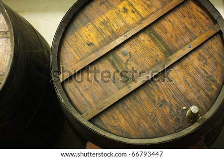 Wine Cellar. Cask of wine. System is very typical in Spain to sell wines such as Rioja and Ribera del Duero. Photo with Copy space, or used as background - stock photo