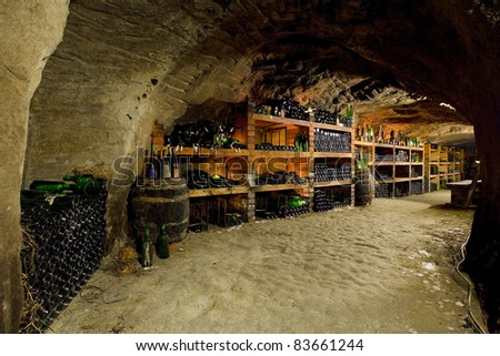 wine cellar,  Czech Republic - stock photo
