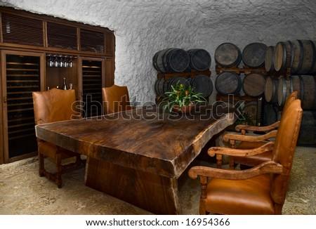 wine cellar dinning room - stock photo