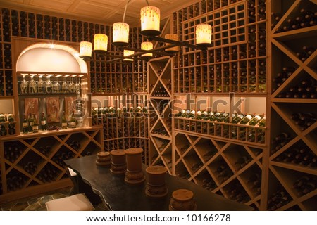 Wine cellar in a luxury home. - stock photo
