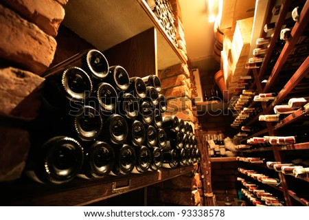 Wine cellar in small french restaraunt - stock photo