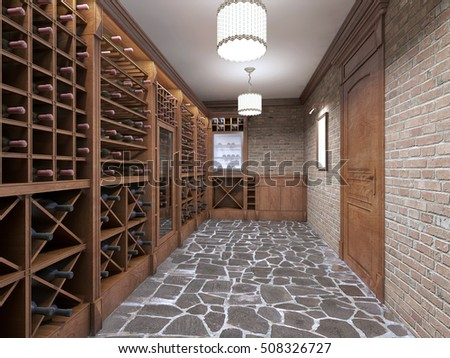 Wine cellar in the basement of the house in a rustic style. Open wine racks & Wine Cellar Basement House Rustic Style Stock Illustration 508326727 ...