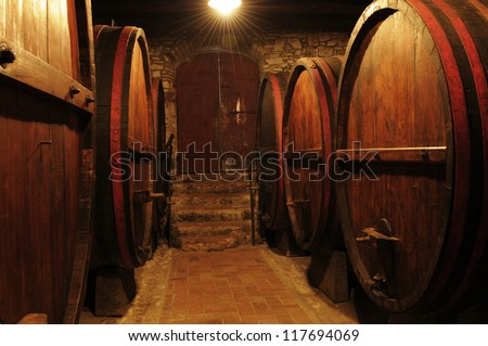 Wine cellar in Tuscany - stock photo
