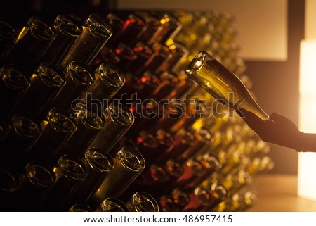 Wine cellar with bottles, wine rack, winery