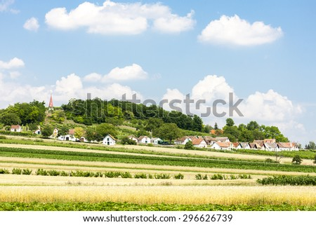 wine cellars with field, Galgenberg, Lower Austria, Austria - stock photo