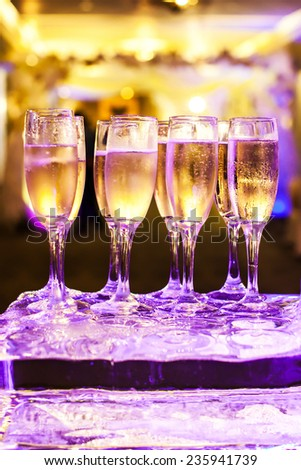 wine/champagne glasses in wedding day - stock photo