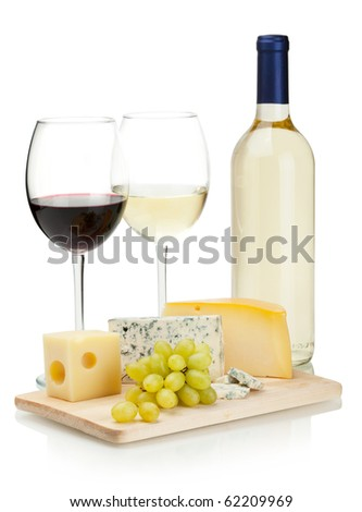 Wine, cheese and grapes. Over white - stock photo