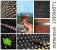 Wine collage. Beautiful set of wine images - stock photo
