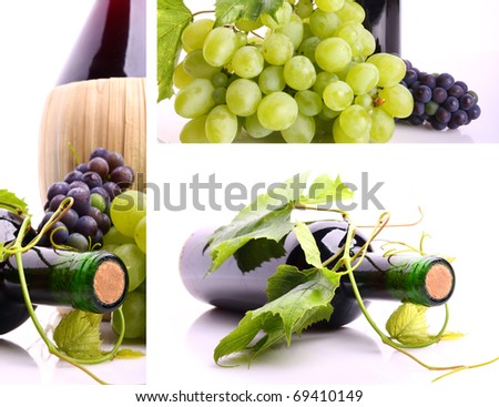 Wine collage made of three pictures