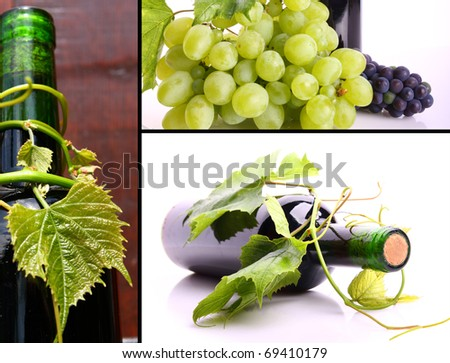 Wine collage made of three pictures - stock photo