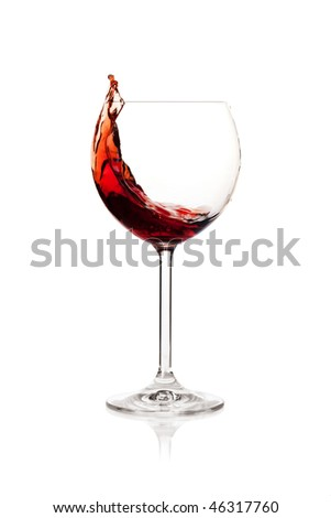 Wine collection - Splashing red wine in a glass. Isolated on white background