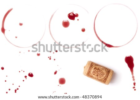 Wine collection - stains, spots and cork. On white background - stock photo