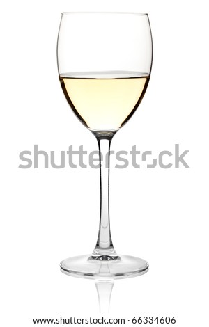Wine collection - White wine in a glass. Isolated on white background - stock photo