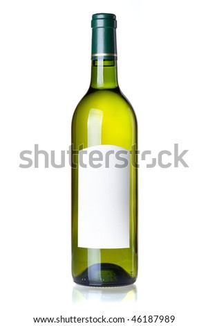 Wine collection - White wine in green bottle with blank label. Isolated on white background