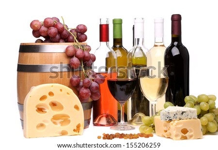 Wine composition. Close up. Isolated on a white background. - stock photo