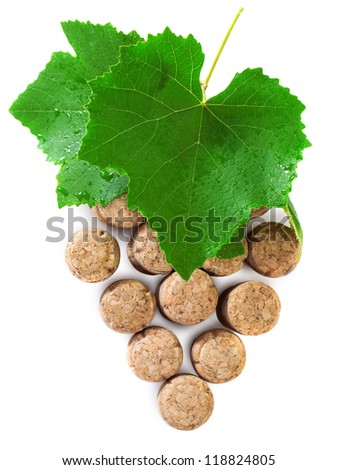 Wine concept over white background with wine corks and wine leaves