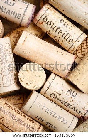 Wine cork background with copy space - stock photo