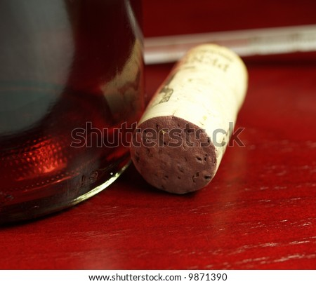 wine cork over wood - stock photo