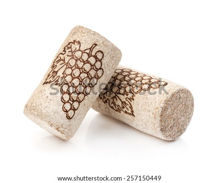 Wine cork with grape illustration Isolated on white background - stock photo