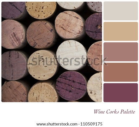 Wine corks background colour palette with complimentary swatches. - stock photo
