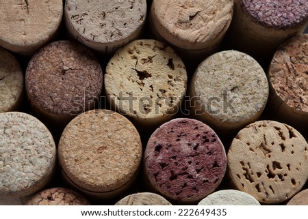 Wine corks collection. Colorful wine corks. Macro view. Closeup. Texture.