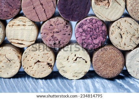 Wine corks collection. Colorful wine corks. Macro view. Closeup. Texture. (soft focus)