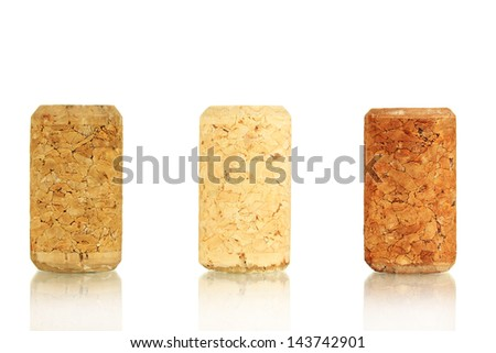 Wine corks isolated on white - stock photo