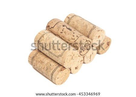 Wine corks isolated on white background - stock photo