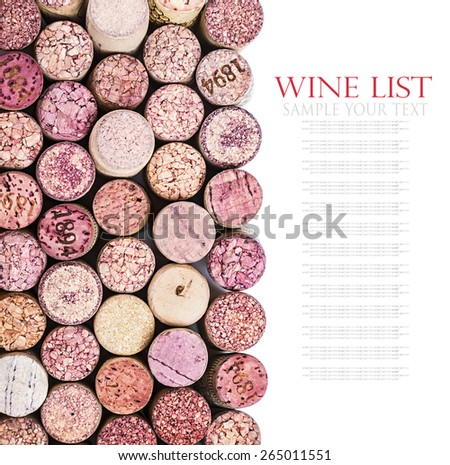 wine corks isolated on white background. for example text and easily removed - stock photo