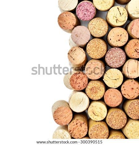 Wine corks isolated on white with copyspace - stock photo