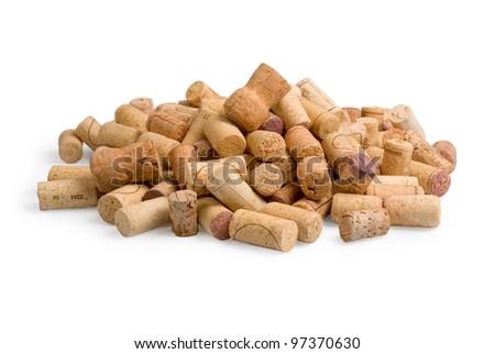 wine corks on white background - stock photo