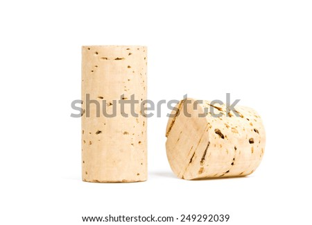 wine corks on white background - isolated - stock photo