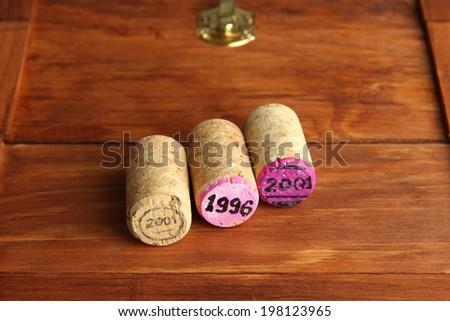 Wine corks on wine boxes close-up - stock photo