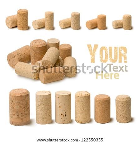 wine corks set  isolated on white - stock photo