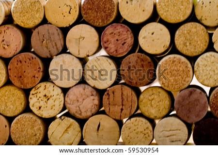 wine corks tops closeup background - stock photo
