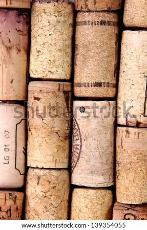 wine corks vertical background - stock photo