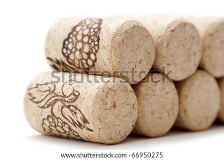 wine corks with grape illustration - stock photo