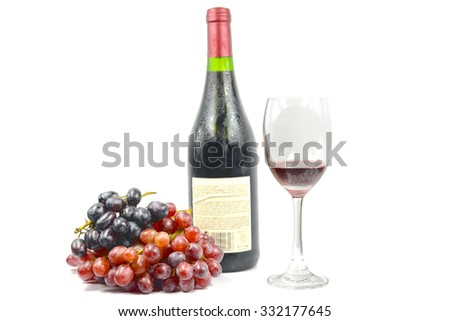 Wine cups and grape - stock photo