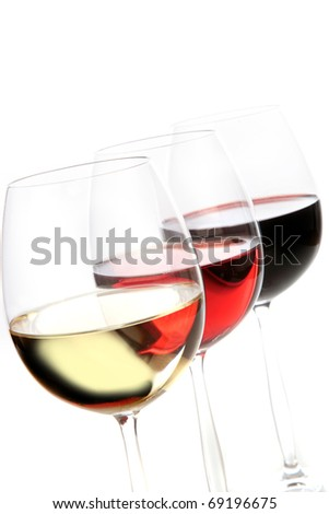 wine cups, red wine, white wine and rose wine